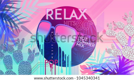 80's. Relax. 80' Hot summer mix. Ultra Violet. Retro style pop disco design neon. fashion party, vector background vintage style. Disco party 1980 club dance night. Eighties video and music mix.