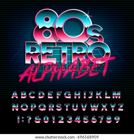 80's retro alphabet font. Metallic effect type letters and numbers. Vector typeface for your design. - Shutterstock ID 696568909