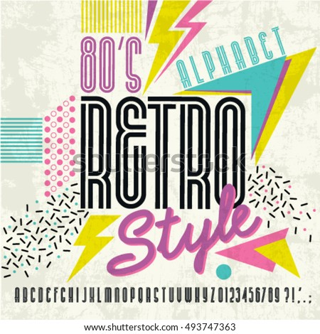 80's retro alphabet font. Retro Alphabet vector Old style graphic poster. Eighties style graphic template.