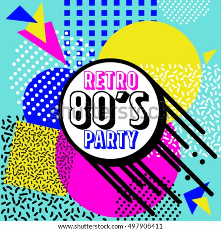 80's Retro elements Colorful  background. Vintage vector graphic poster. Eighties style fashion style graphic template. Easy editable for Your design.