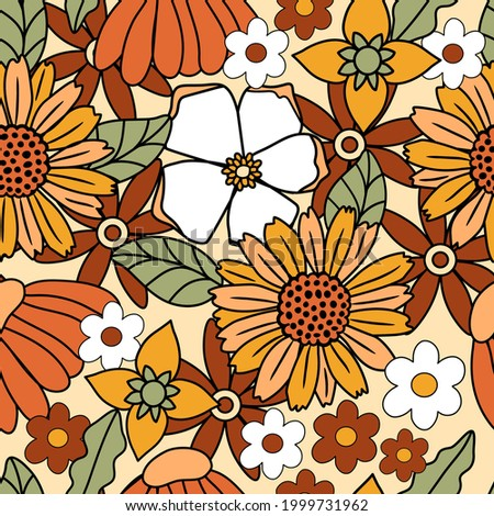 70s retro floral seamless pattern background. Large scale flower pattern perfect for home decor, wrapping paper, fabric, scrapbooking and wallpaper design Сток-фото ©