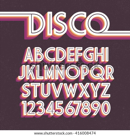 80's Retro Font. Vector disco alphabet