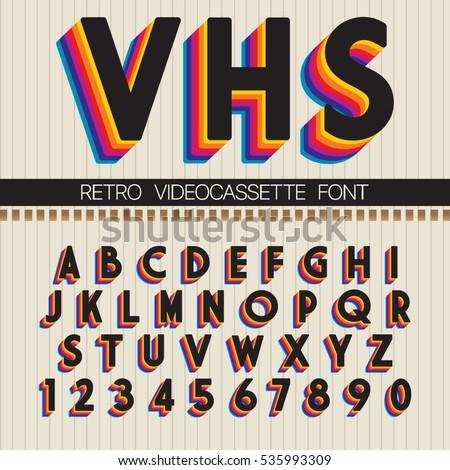 90's retro font. vector vhs...