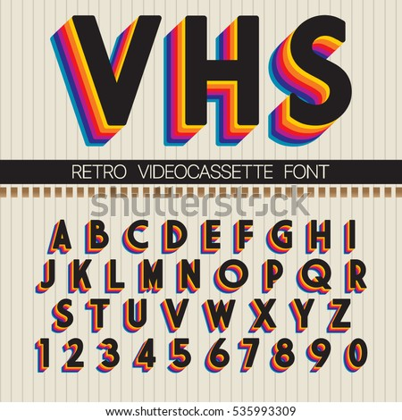 90's Retro Font. Vector VHS alphabet