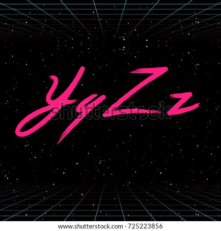 80s Retro Futuristic Font. Vector Brush Stroke Alphabet. Letters from Y to Z