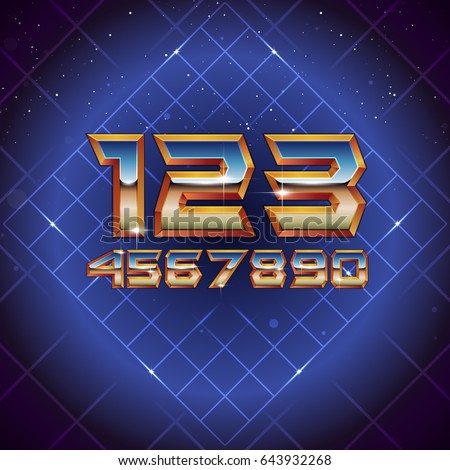 80s Retro Futuristic Numbers. Vector retro futuristic synth retro wave letters in 1980s posters style