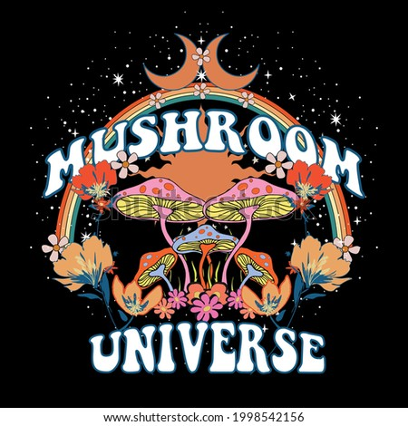 70's Retro groovy slogan print flowers, stars, Mushroom Planet - Hipster graphic vector pattern for tee - t shirt and sweatshirt