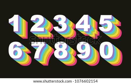 80's retro numbers. rainbow...