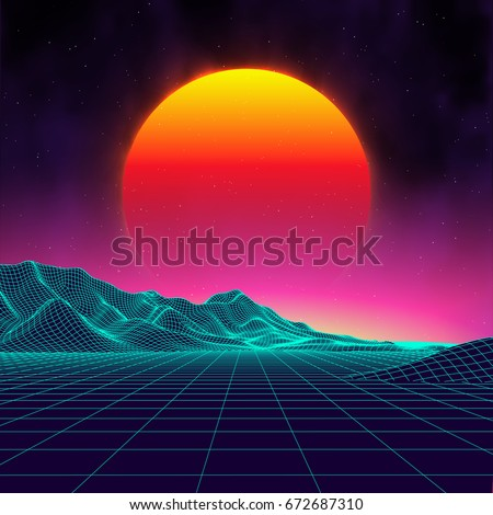 80s retro sci fi background