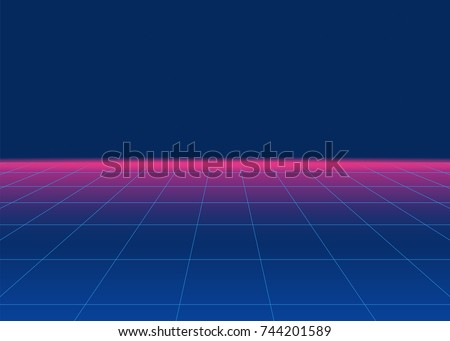 80s Retro Sci-Fi Background. Retro futuristic background, synth retro wave and grid. Disco background template. Vector