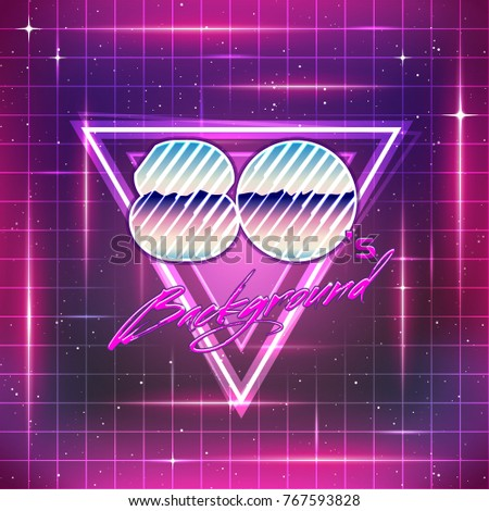 80s Retro Sci-Fi Background. Vector futuristic synth retro wave