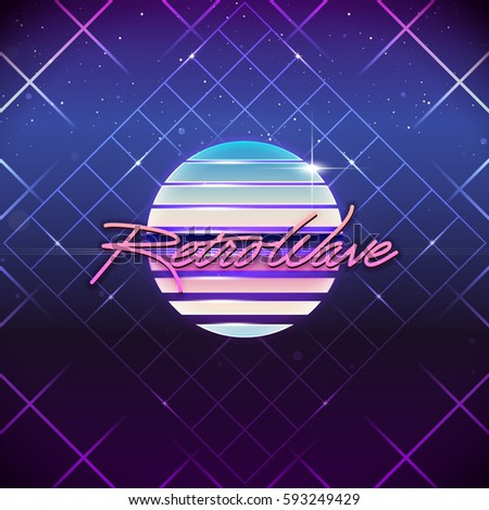 80s Retro Sci-Fi Background. Vector futuristic synth retro wave illustration in 1980s posters style.