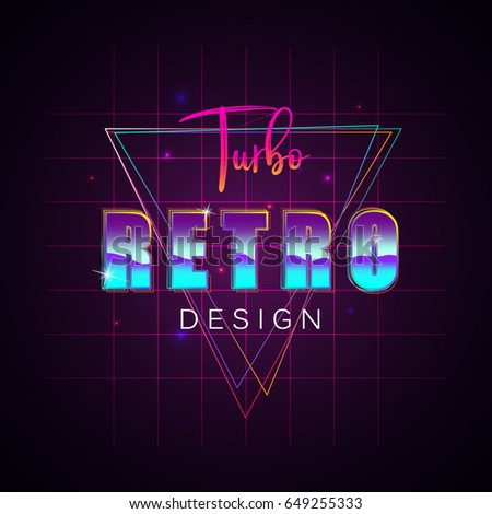 80s Retro Sci-Fi Background. Vector futuristic synth retro wave illustration in 1980s posters style. Suitable for any print design in 80s style.