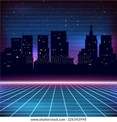 80s Retro Sci-Fi Background with city silhouette