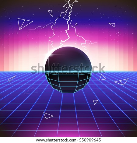 80s Retro Sci-Fi Background with 3D Objects. Vector futuristic synth retro wave illustration in 1980s posters style. Suitable for any print design in 80s style.