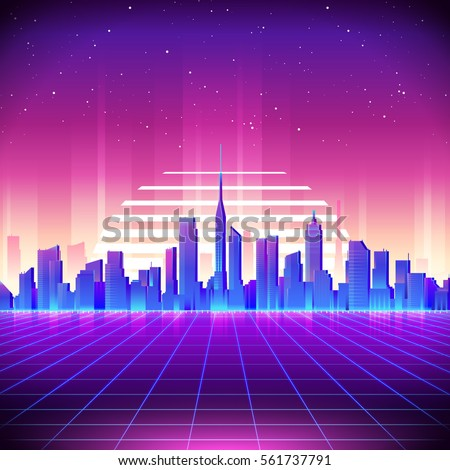 80s Retro Sci-Fi Background with Night City Skyline. Vector futuristic synth retro wave illustration in 1980s posters style. Suitable for any print design in 80s style.