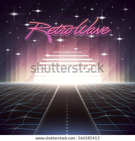 80s Retro Sci-Fi Background with Road and Sun. Vector futuristic synth retro wave illustration in 1980s posters style. Suitable for any print design in 80s style.