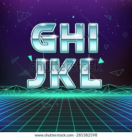 80s retro sci fi font from g to