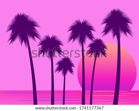 80s retro sci fi palm trees on