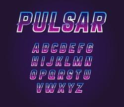 80's Retro Sci-Fi Universe Pulsar  Font Alphabet Vector Set