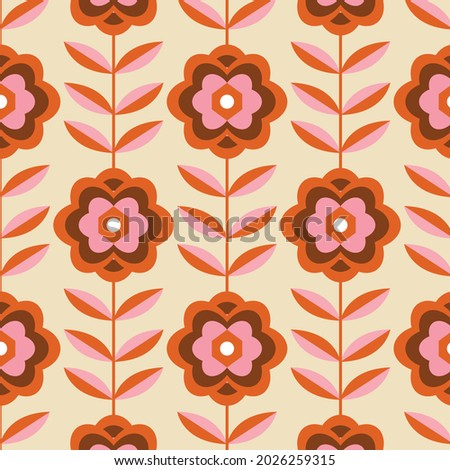 70's Retro Seamless Pattern. 60s and 70s Aesthetic Style.  Сток-фото ©