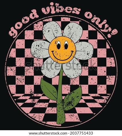 70s retro smiling daisy flowers