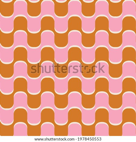 70s retro vintage wavy pattern in gold and pink Сток-фото ©