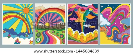 1960s, 1970s Art Style, Colorful Psychedelic Backgrounds, Covers, Posters, Hand Drawn Nature, Hippie Art Style