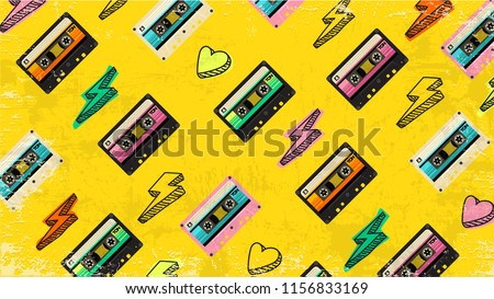 70's, 80's cassette tape vintage retro background. Fashionable poster simple graphic old style with heart and flash. Disco love party 1980. Yellow banner Easy editable template for Your design.