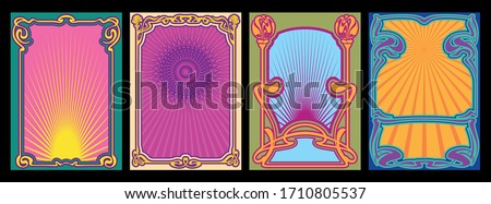 1960s, 1970s Music Poster Style Templates, Covers, Backgrounds, Psychedelic Colors, Art Nouveau Frames and Decor