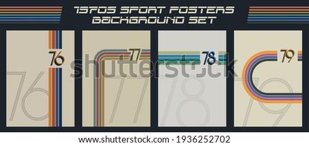 1970s Sport Posters Background Set, Vintage Color Linear Cover Templates