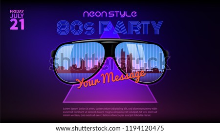 80s style background. Neon style party flyer design. Sunglasses with reflecrtion.