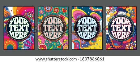 1960s Style Psychedelic Backgrounds, Floral Pattern Set Сток-фото ©
