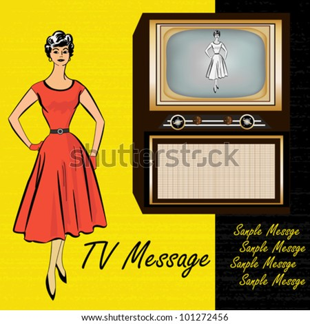 1950's Style Retro Background illustration with a television and a stylish lady