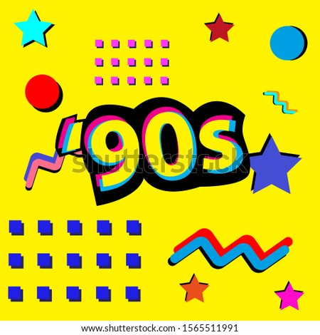 90s style. Retro style. Pop and rock music party event template. Vector poster.