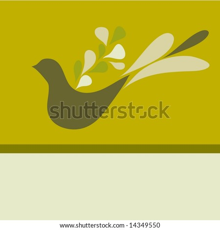 1970s style retro teardrop dove page or vintage card layout with space at the bottom open for copy. Vector.