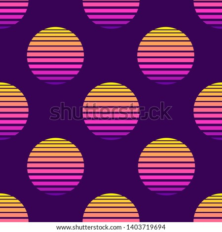 80s style seamless pattern with spheres, round shapes, symbolic suns. Futuristic digital vector wallpaper. Vaporwave, retrowave, cyberpunk aesthetics.