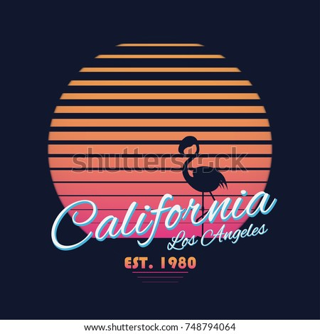 80s style vintage California typography. Retro t-shirt graphics with tropical paradise scene and flamingo silhouette. Vector