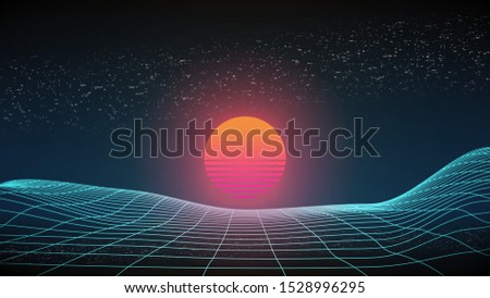 80s sunset wireframe 3d