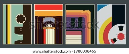 1980s Techno Posters Template set, Vintage Colors, Tape, Video Cassette, Floppy Disc, Bobbin Background