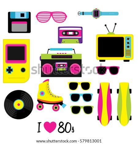 80S vector, Vintage retro 80's vector elements collection