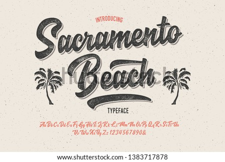 """Sacramento Beach"". Vintage Brush Script Modern Alphabet. Retro Typeface. Vector Font Illustration. Vector"