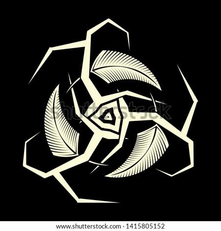 Sacred geometry. Sacred symbol of Vikings. Ancient sacral sign of Celts. Trinity. Triskelion. Triskele. Valknut.  Alchemy, religion, philosophy, astrology, spirituality. Vector illustration.