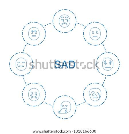 8 sad icons. Trendy sad icons white background. Included line icons such as upset emot, vomiting emot, sad emot, angry, emo crying emot. icon for web and mobile.