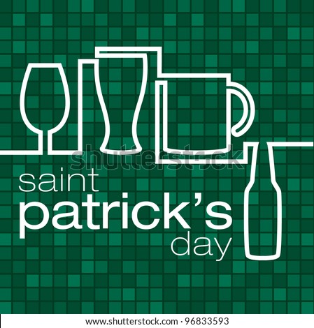 """Saint Patrick's Day"" beer glass card in vector format."