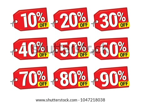 """Sale and discount tags. Price off label icon. 10, 20, 30, 40, 50, 60, 70, 80, 90 percent sale. Vector tags"""