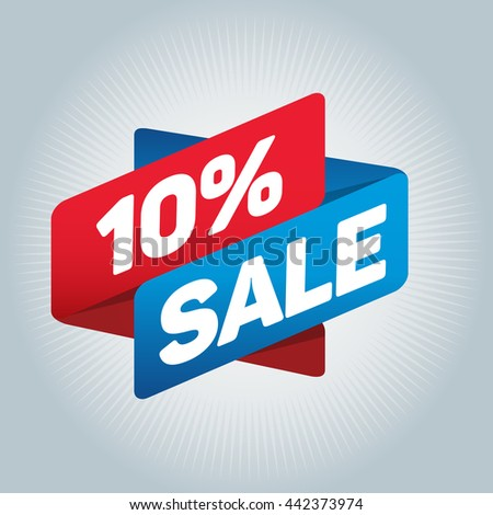 10% sale arrow tag sign icon. Discount symbol. Special offer label. White background.