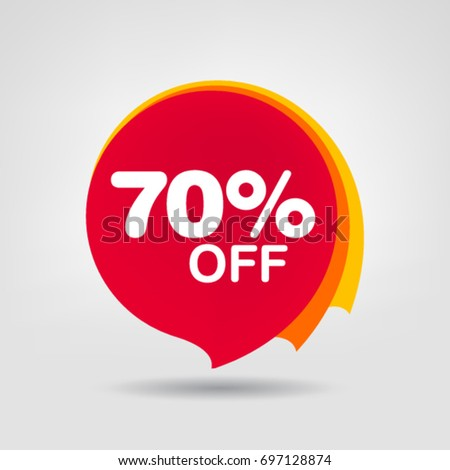 70% Sale Discount banner geometric vector sale sticker. Discount offer price tag.
