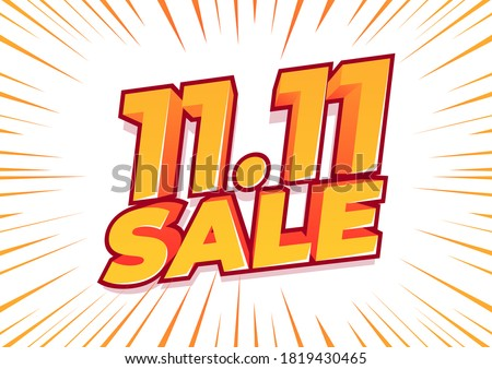 11.11 sale poster or flyer design. Global shopping world day Sale on colorful background. 11.11 Crazy sales online.