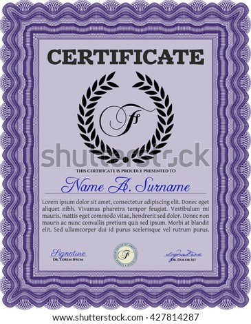 Sample Certificate. Vector pattern that is used in money and certificate. Artistry design. With quality background.
